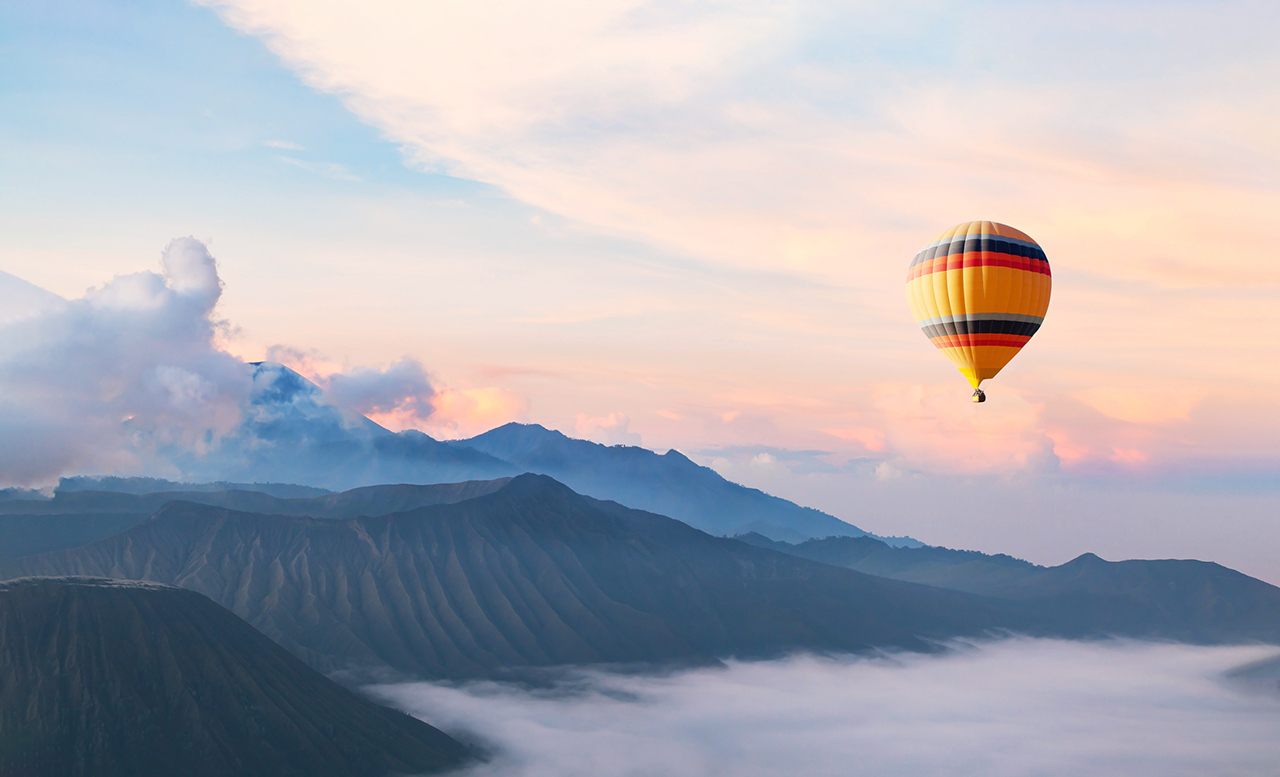 beautiful inspirational landscape with hot air balloon flying in the sky, travel destination, beautiful inspirational landscape with hot air balloon flying in