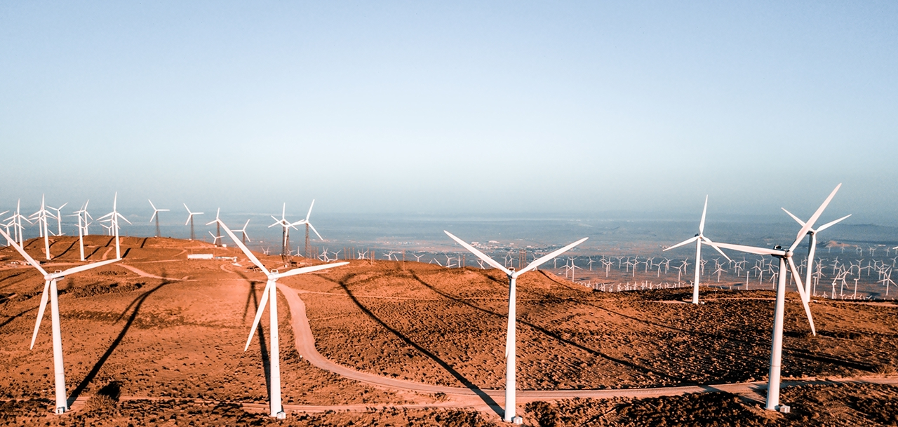 Wind turbine farm from aerial view. Sustainable development, environment friendly of wind turbine by giving renewable, sustainable, alternative energy in Nevada, USA.