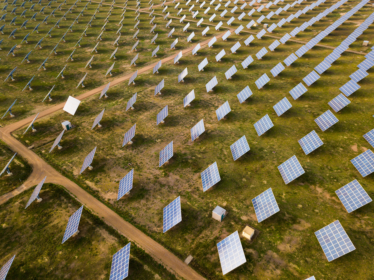 Aerial view of solar panels of modern photovoltaic power station