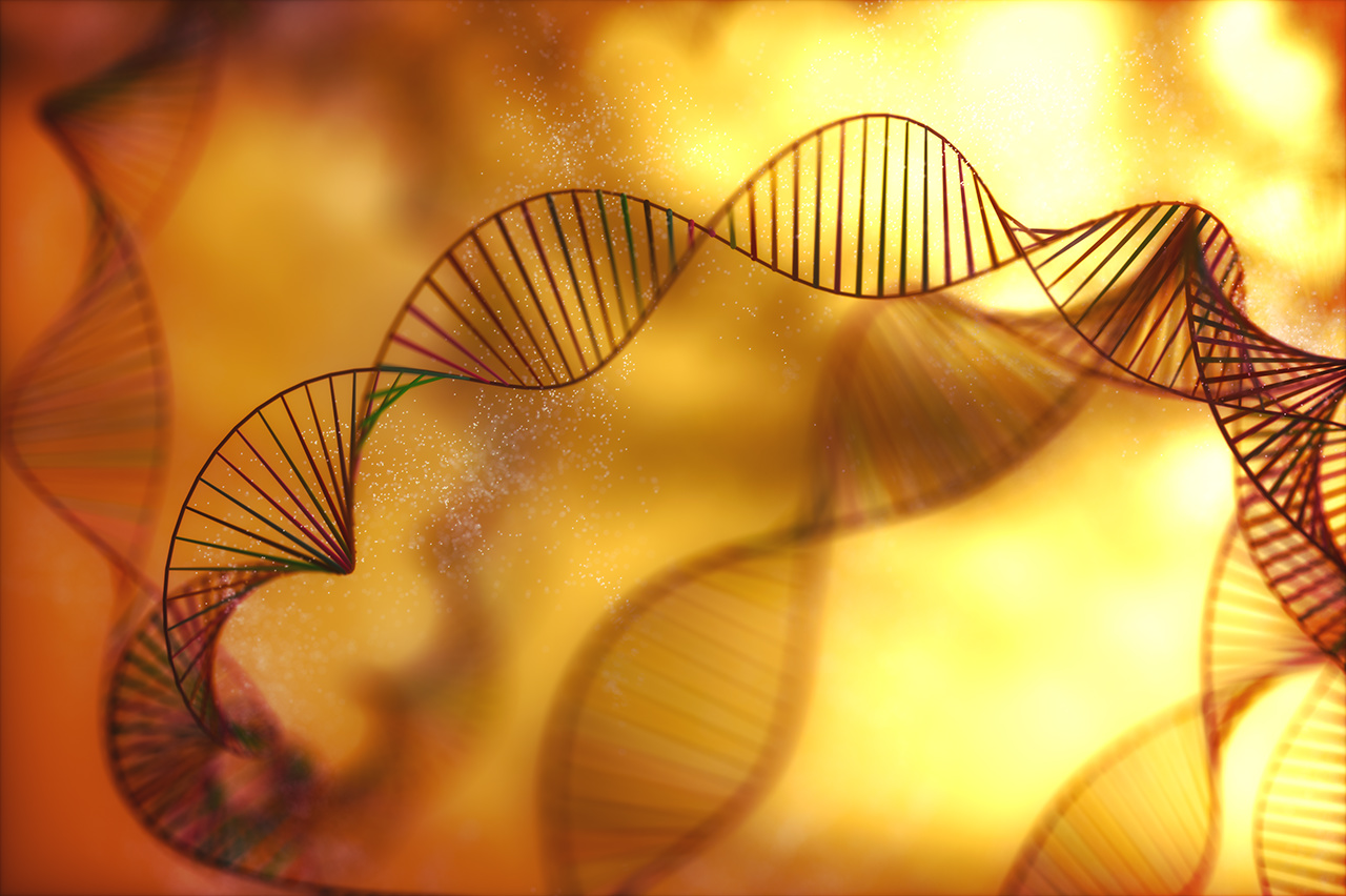 Image of genetic codes DNA. Concept image for use as background. Colored 3D illustration.