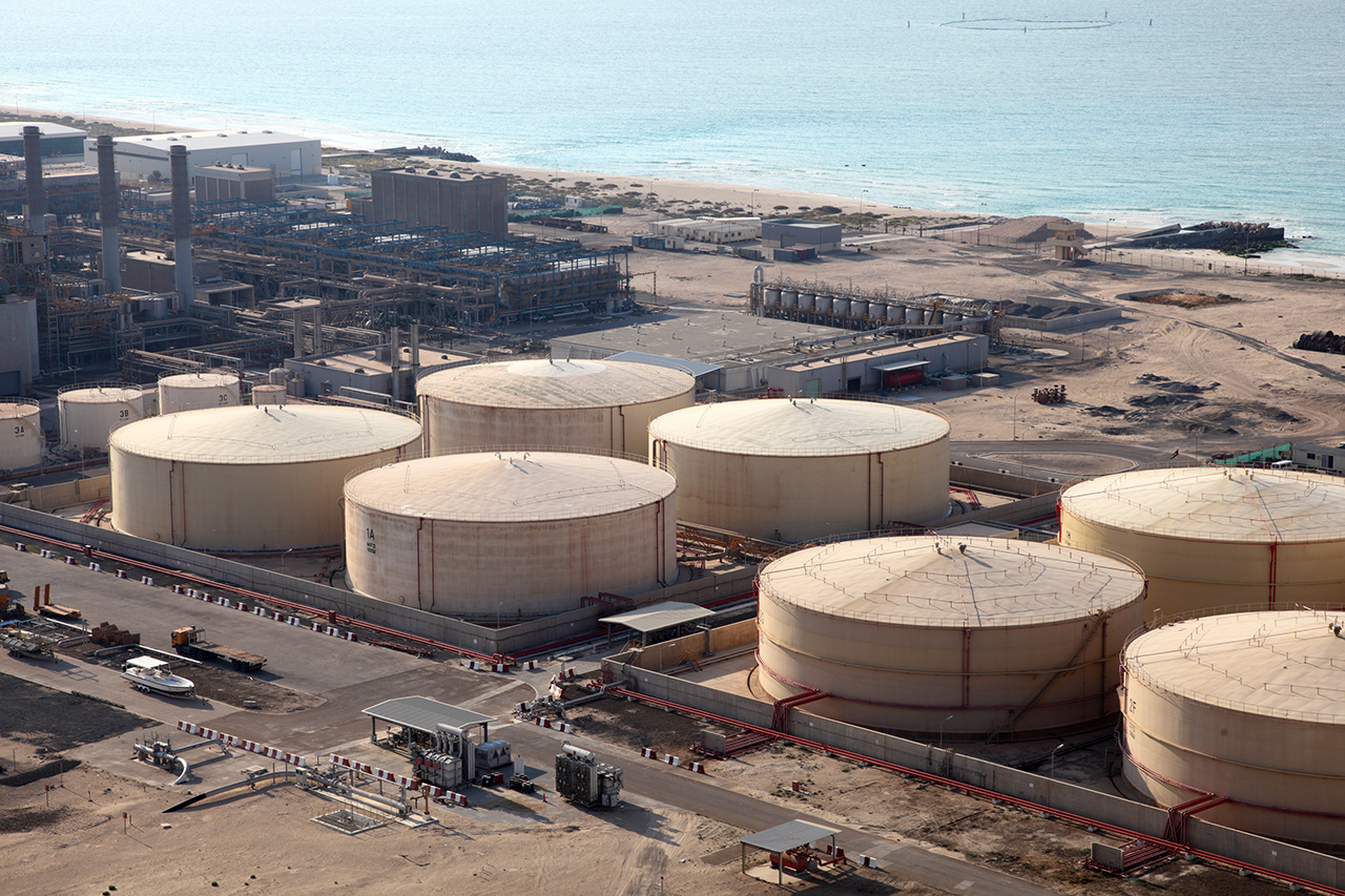 Storage tanks at the port in Dubai, United Arab Emirates