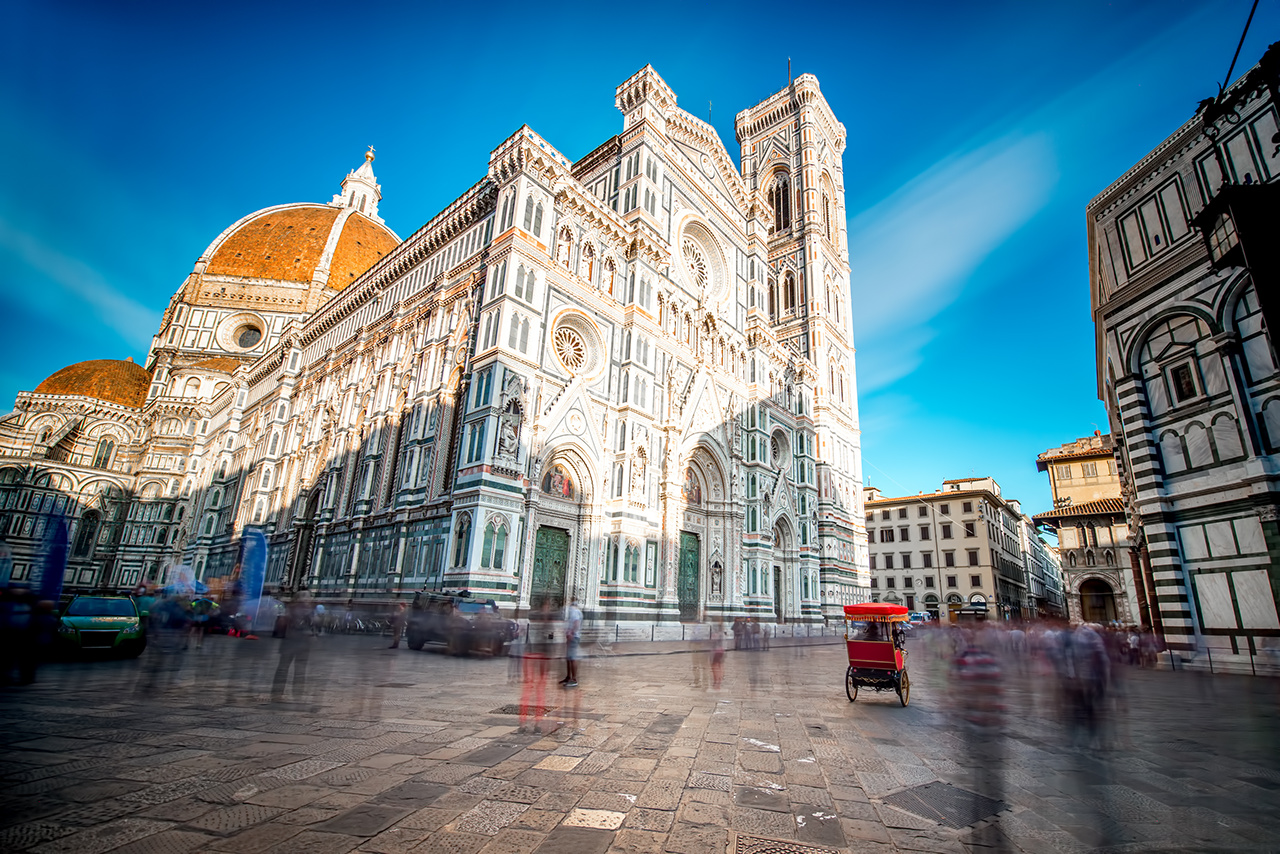 Famous Santa Maria del Fiore cathedral church in Florence. Long exposure image technic, view from below