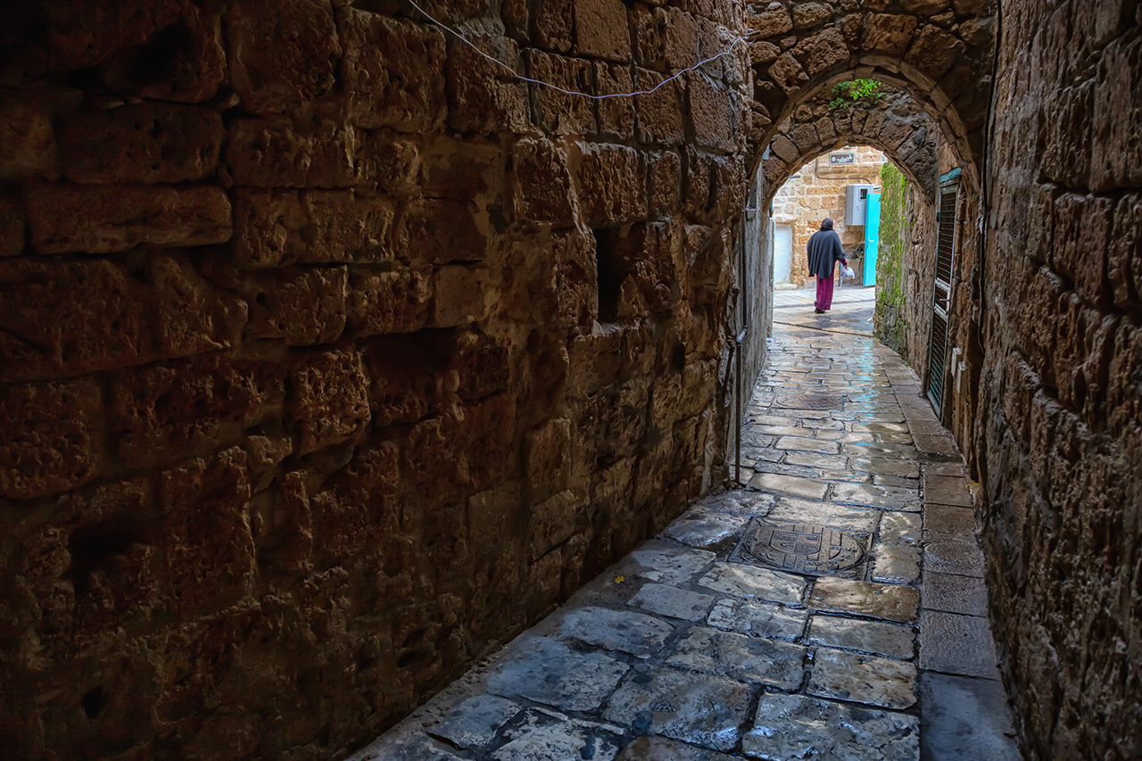 Dark and Narrow streets in the Old City of Akko. Taken in Acre, North District, Israel.