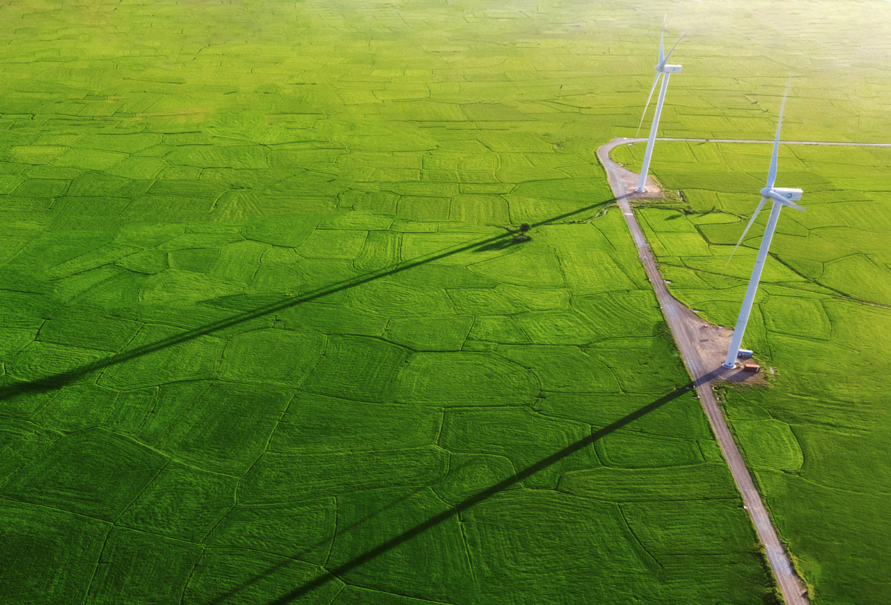 Landscape with Turbine Green Energy Electricity, Windmill for electric power production, Wind turbines generating electricity on rice field at Phan Rang, Ninh Thuan, Vietnam. Clean energy concept., Landscape with Turbine Green Energy Electricity, Windmill for el